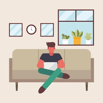 Man with laptop working on couch from home design of telecommuting theme vector illustration