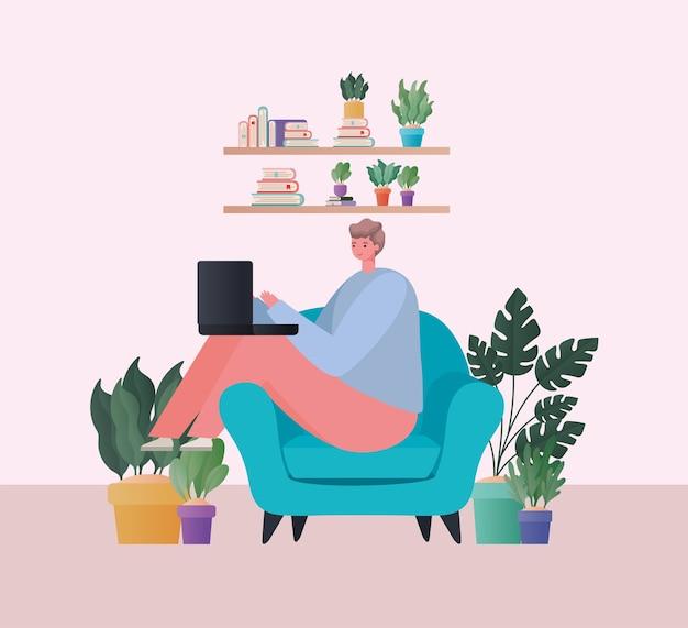 自宅のテーマから仕事の青い椅子のデザインに取り組んでいるラップトップを持つ男