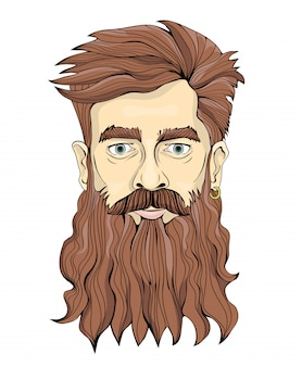 A man with a long beard and earring.  portrait illustration,  on white.