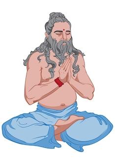 Человек с длинными седыми волосами и бородой занимается йогой