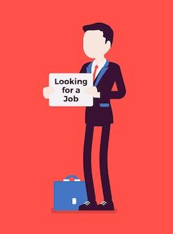 Человек с ищет знак объявления о работе. претендент, не имеющий оплачиваемой работы, безработный, ищущий работу, пытающийся найти работу, безработный кандидат. векторная иллюстрация, безликие персонажи
