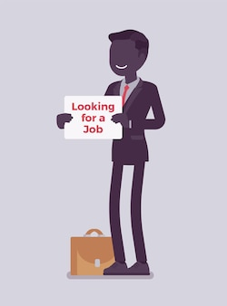 Man with looking for a job advertisement sign. applicant having no paid work, jobless seeking employment, attempting to find workplace, unemployed candidate.