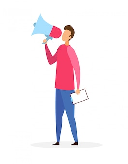 Man with loudspeaker flat vector illustration