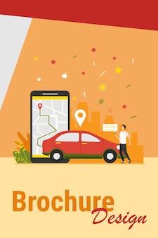 Uomo con mappa su smartphone noleggio auto. conducente che utilizza l'app di car sharing sul telefono e cerca il veicolo. illustrazione vettoriale per trasporto, trasporto, traffico urbano, concetto di app di posizione.