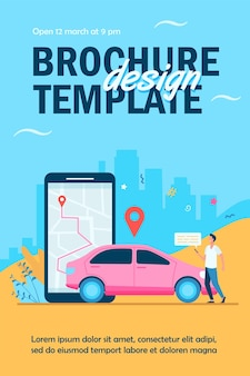 Man with map on smartphone renting car flyer template