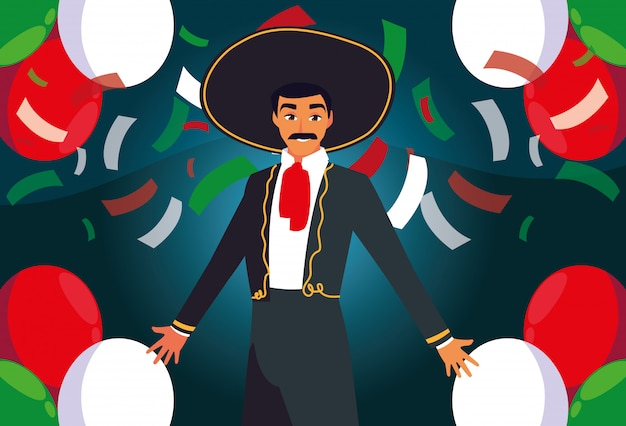 Man with mariachi costume on confetti background