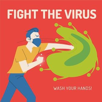 Человек с маской борется с вирусом