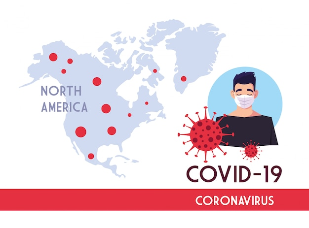 Man with mask and north america map with covid 19 virus vector design