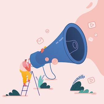 Man with megaphone, people characters for refer a friend concept. referral marketing loyalty program, promotion method for landing page, template, ui, web, poster.