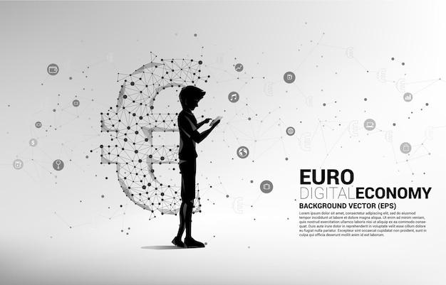 Человек с мобильным телефоном и денежным символом валюты евро от линии соединения точки многоугольника.