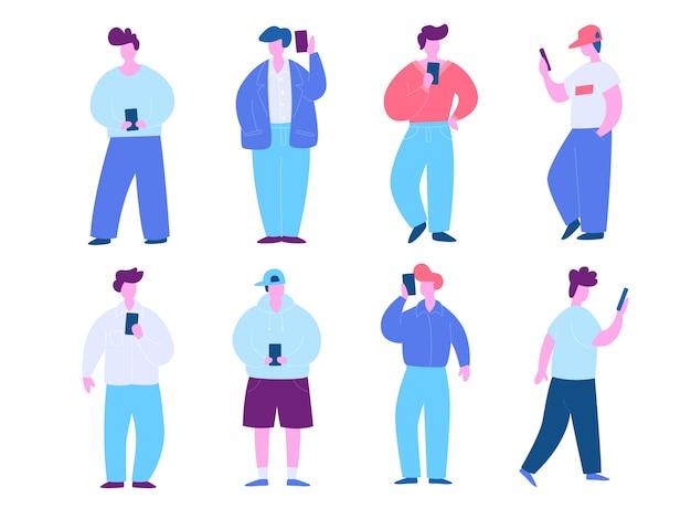 Man with mobile phone illustration set