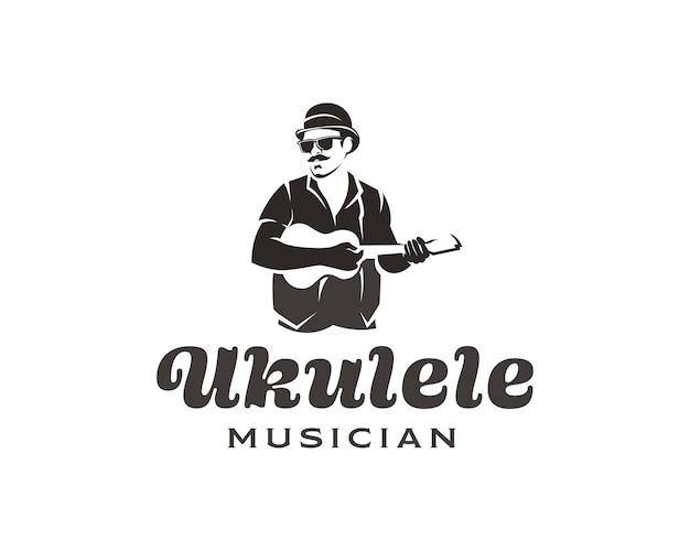 Man with mustache and glasses playing small guitar logo ukulele musician logo design template