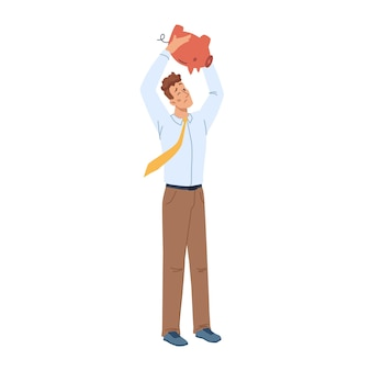 Man with no money in piggy bank isolated flat cartoon character vector male has financial troubles Premium Vector