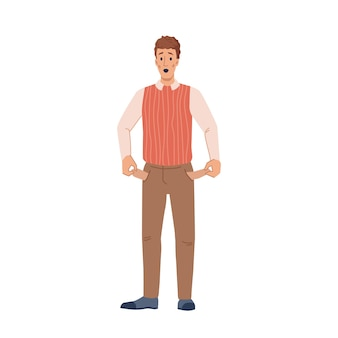 Man with no money in pockets flat cartoon character