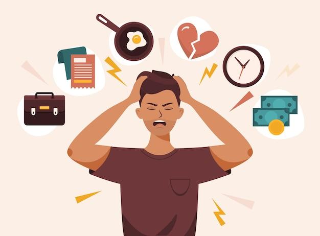 Мужчина с открытым ртом хватается за голову обеими руками. стресс, факторы раздражения, переутомление, плохое настроение