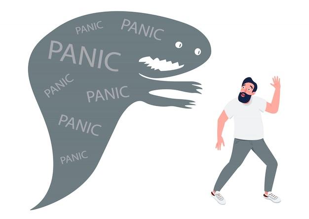 Человек с иллюстрацией концепции паники плоской