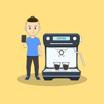 電話とコーヒーマシンを持つ男