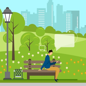Man with phone online negotiations in park