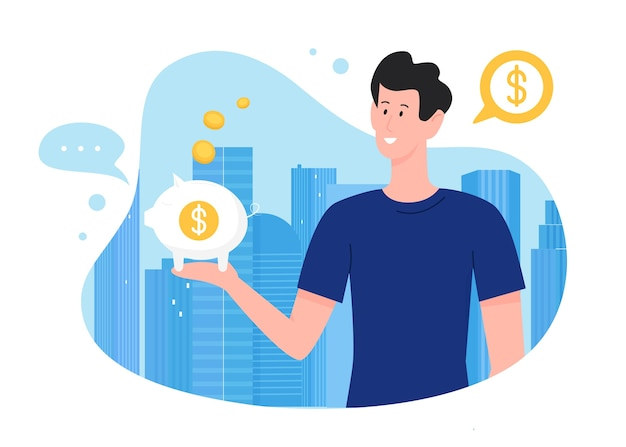 Man with piggybank illustration