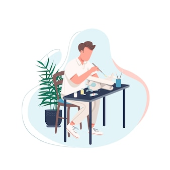 Man with plane model flat color faceless character. man doing diy activity at home. pastime for male adult. craftsman isolated cartoon illustration for web graphic design and animation
