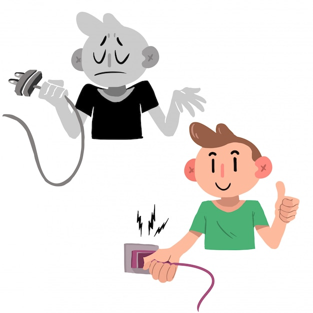 Man with a plug, connect and disconnect