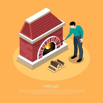 オレンジ色の等尺性のレンガから赤白い暖炉の近くの火かき棒を持つ男