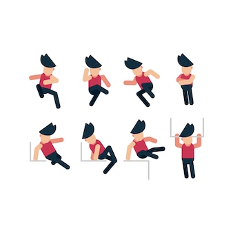 A man with pose character flat design collection