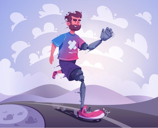 Un uomo con una protesi corre