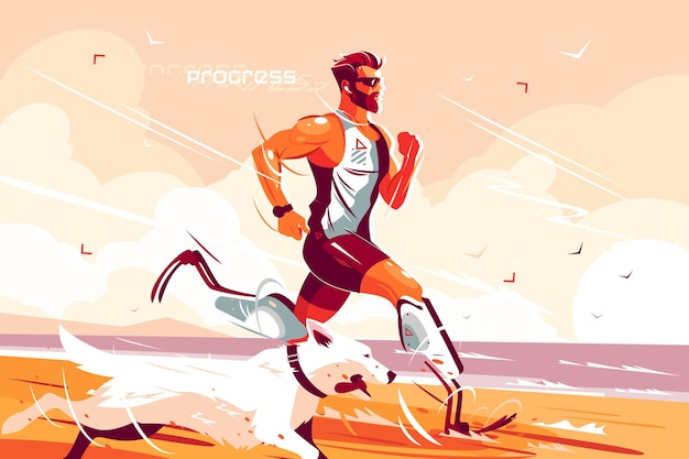 Man with prosthetic legs running on seashore vector illustration. jogging athlete with prostheses and dog flat style design