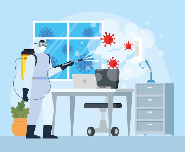 Man with protective suit spraying office desk with