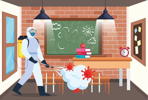 Man with protective suit spraying school room with