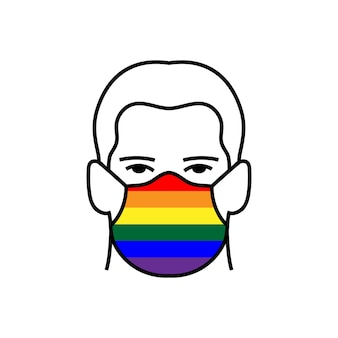 Man with rainbow lgbt flag on medical mask icon avoid covid-19 coronavirus. flat style vector. pride concept.