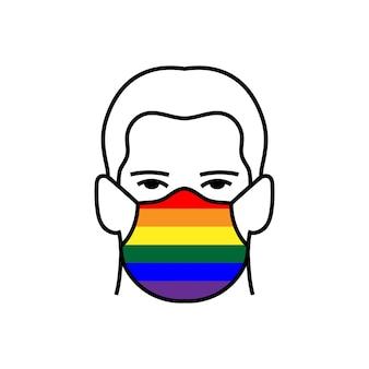 의료 마스크 아이콘에 무지개 lgbt 깃발을 가진 남자는 covid-19 코로나바이러스를 피합니다. 평면 스타일 벡터입니다. 자부심 개념입니다.