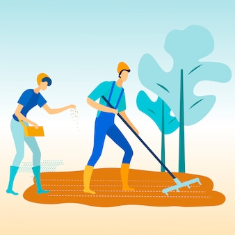Man with rake in garden. woman sows seeds to earth