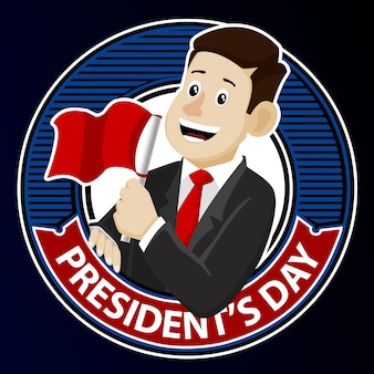 Man with red flag for president's day badge vector