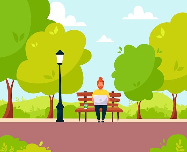 公園のラップトップで座っている赤い髪の男。公園での人々の活動。フリーランス、eラーニング、リモート作業のコンセプト。フラットスタイルのイラスト。