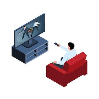 テレビの等角図3dでスリラーを見ているリモコンを持つ男