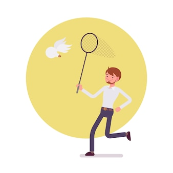 Man with ringnet is trying to catch an idea, wing bulb