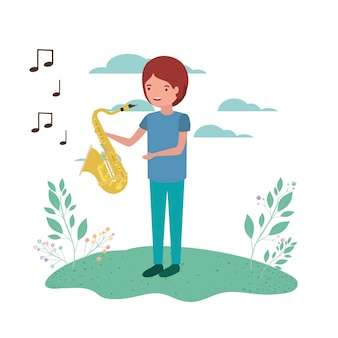 Man with saxophone in landscape avatar character