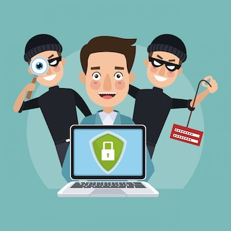 Man with secure laptop and hackers behind
