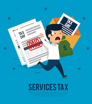 Man with service tax documents and money