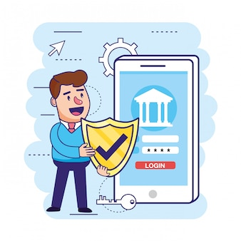 Man with shield security and smartphone with digital bank