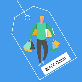 ショッピングバッグとプレゼントを持つ男。人のキャラクター、大きな販売、割引、広告バナー、チラシ、黒い金曜日、プロモーションポスターの概念図