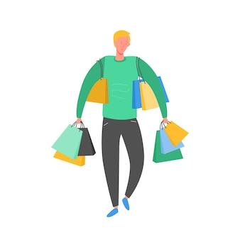 ショッピングバッグとプレゼントを持つ男。人のキャラクター、大きな販売、割引、広告バナー、プロモーションポスターの概念図
