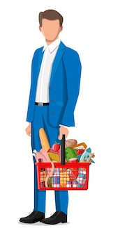 Man with shopping basket with fresh products. grocery store supermarket. food and drinks. milk, vegetables, meat, chicken cheese, sausages, salad, bread cereal steak egg. flat vector illustration