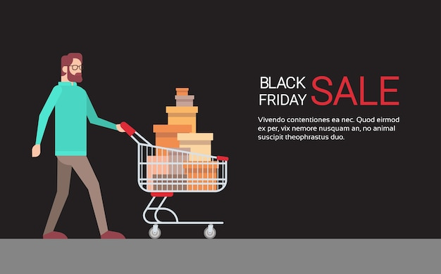 Man with shopping cart black friday big sale banner