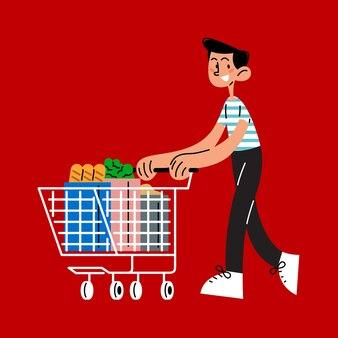 Человек с корзиной плоских векторных иллюстраций