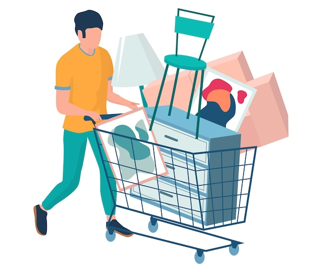 Man with shopping cart full of home furniture items vector illustration furniture purchase sale concept