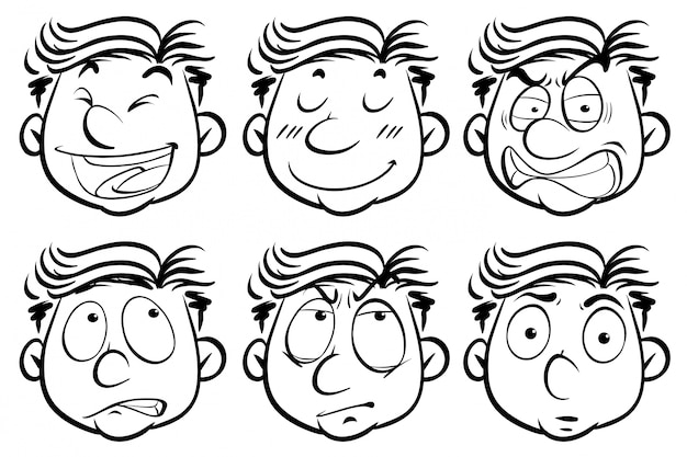 Человек с шестью разными выражениями лица