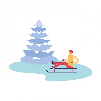 Man with sled and pine tree winter season